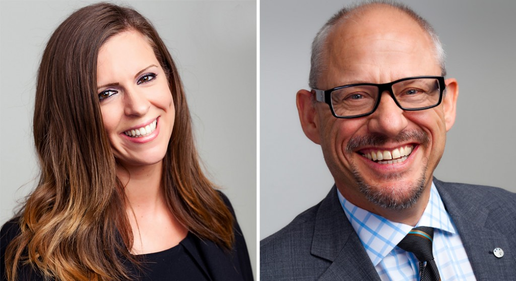 corporate headshot a man and a women