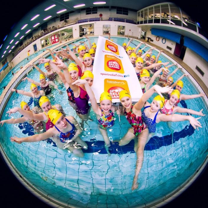 Comic relief synchronised swimming fisheye image