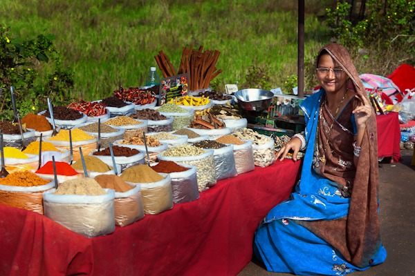 Lady selling Spices and teas at Anjuna Flea Market Goa