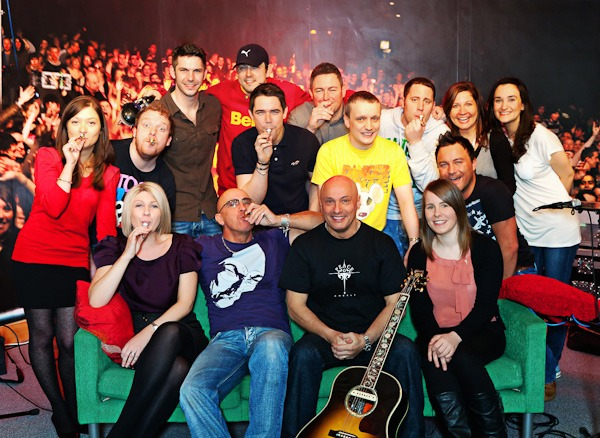 Right Said Fred with the team of presenters and staff from Capital Radio Manchester