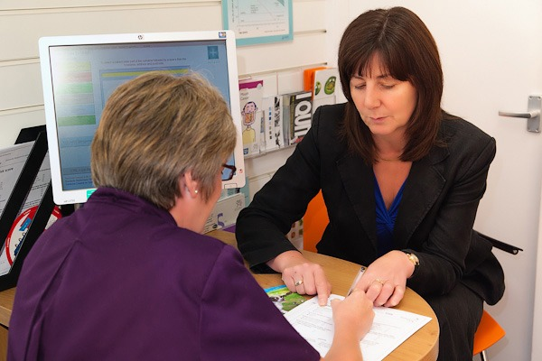 lesley griffiths mp getting diabetes check inside rowlands consulation room wrexham