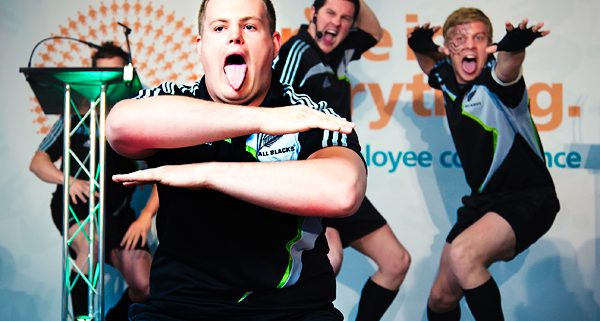 Men in All blacks kits doing the haka at rowlands staff confernence
