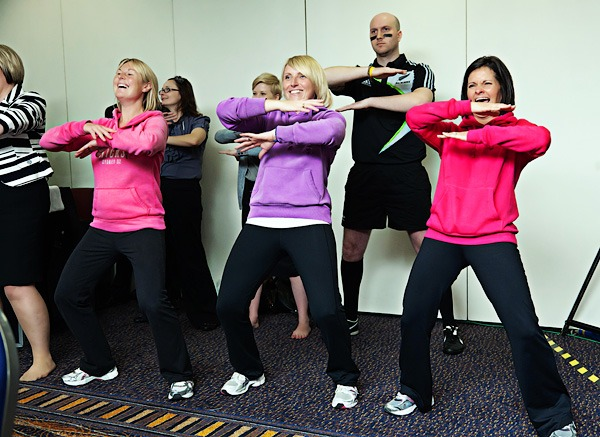people doing the haka at corporate event