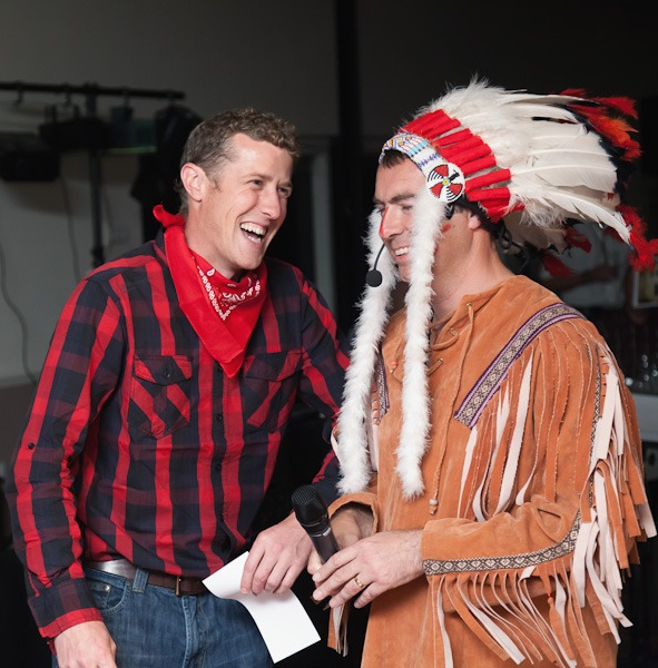 men dressed as cowboy and indian in fancy dress