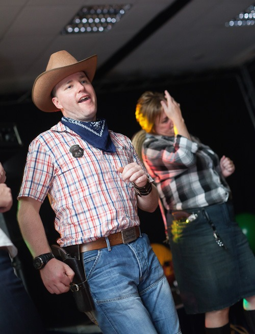 men in cowboys and indians fancy dress