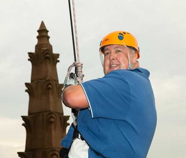 mike johnson abseil liverpool cathedral for nspcc