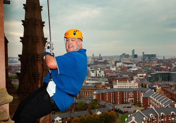 mike johnson abseil off liverpool cathedral