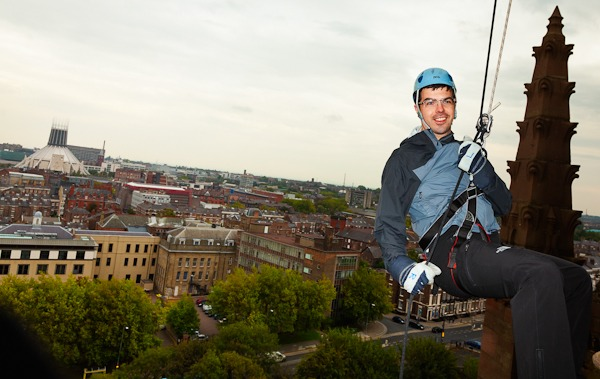 Neil Stewart abseil off liverpool cathedral for NSPCC