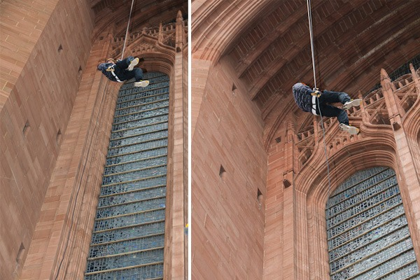 kenny black abseil liverpool cathedral