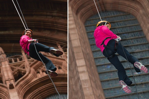 susan black abseil liverpool cathedral for NSPCC