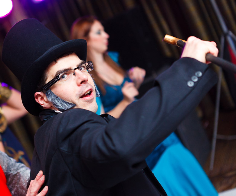 man dressed as abraham lincoln dancing at fancy dress party