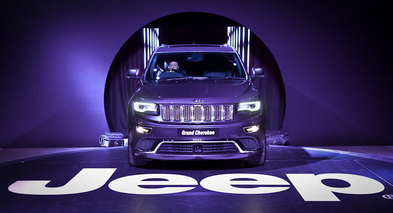 New Jeep Grand cherokee purple colour on podium at launch event