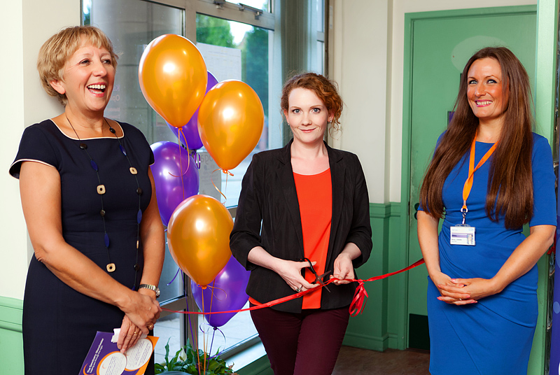 Jennie Mcalpine cuts the ribbon to open the sanctuary mancheser