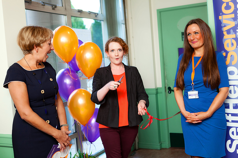 Jennie Mcalpine cuts the ribbon to open the sanctuary kath lock centre manchester