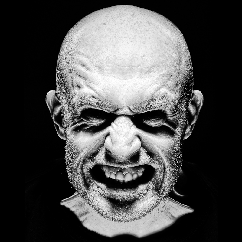 Actor Darren Connolly scary portrait black and white