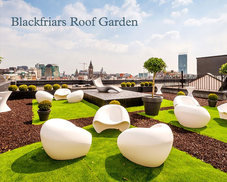 Picture looking out across blackfriars roof garden Manchester