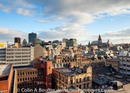 Manchester Skyline Panorama features Manchester Town Hall viewed from Blackfriars roof top garden