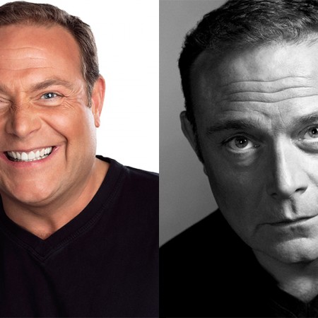 two actor headshots featuring John Thomson black and white and colour side by side