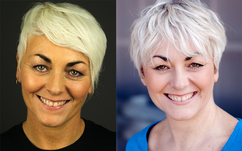 2 headshots of the same lady side by side to one she looks younger