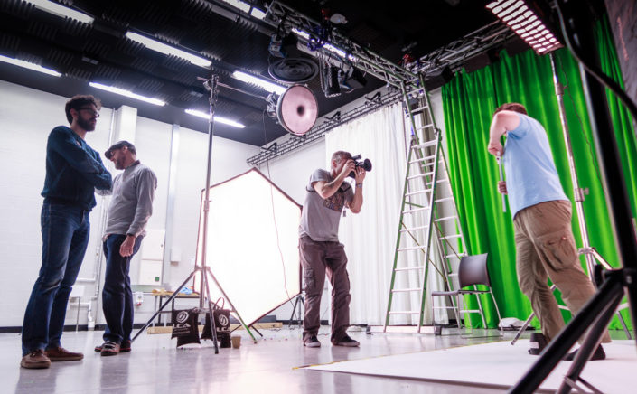 Large photo studio with photography and lighting