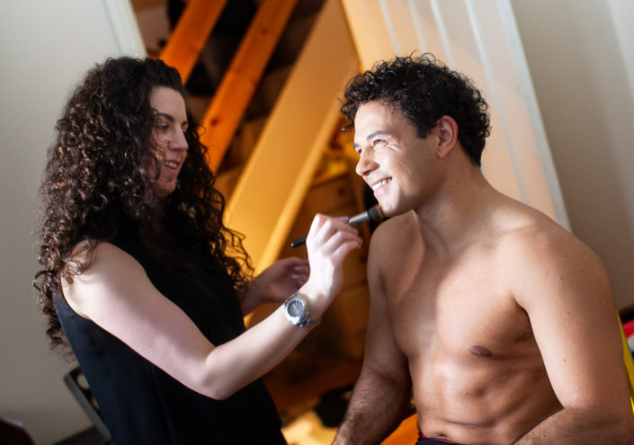 Ryan Thomas shirt off naked top half six pack in makeup with Rebecca Tupman
