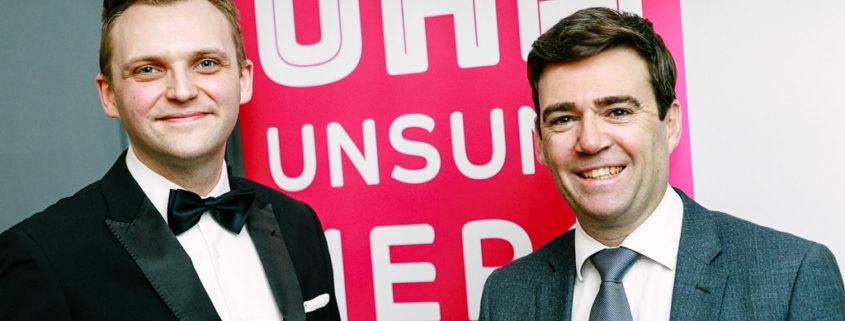 Andy Burnham and Mark Cherry UHA awards banner